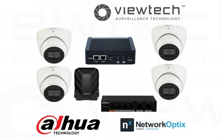 Nx Witness Server Package with 4 AI Cameras