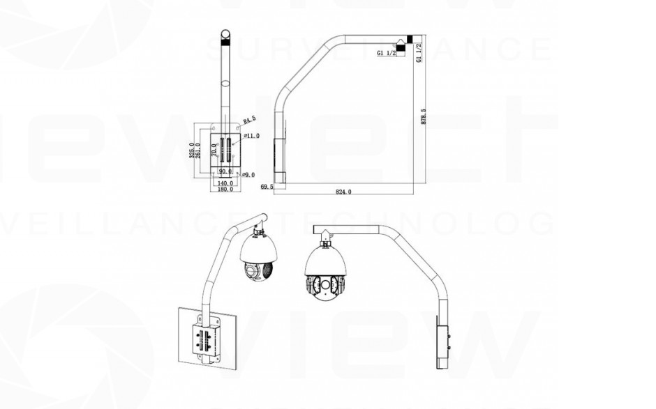 dimensions for dahua parapet bracket